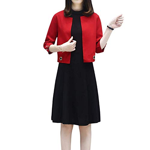 ring Dress Female Large Size Fat Suit Foreign Gas Loose Cover Belly Coat Dress Two-Piece Female ()
