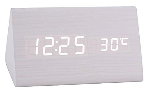 Konigswerk New Triangular Sound Control USB/AAA Battery Powered Wooden LED Alarm Digital Desk Clock Despertador with Thermometer Calendar Auto Brightness Adjustment (White-White) AC017G by Konigswerk