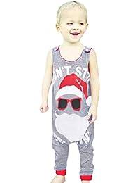 Ropa de una Pieza para bebés niño,Subfamily Bebé sin Mangas Carta de Navidad Impreso