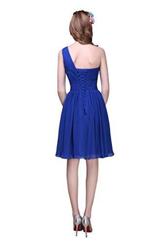 EnjoyBridal® Räumungsverkauf 40% Rabatt Kurz Chiffon Rückenfrei Falten Abendkleid Ballkleid Partykleid Koralle