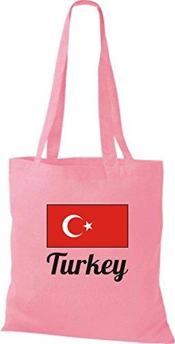 ShirtInStyle Stoffbeutel Baumwolltasche Länderjute Turkey Türkei Farbe Pink rosa