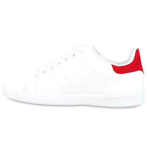 Sportliche Damen Sneakers | Sneaker Low Metallic Lack | Turnschuhe Muster Glitzer | Retro Flats Schnürer | Animalprints Veloursleder-Optik Weiss Rot
