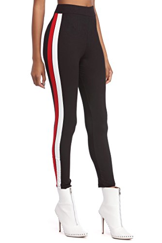 Cloudwood Black Ride And Side Stripe Ankle Length Leggings - LEG18 (Free Sze)