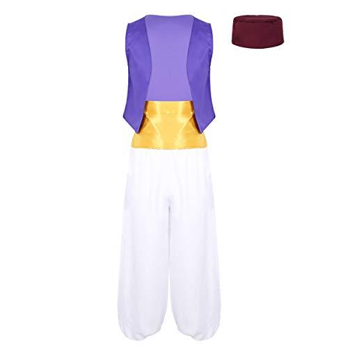 Herren Prinz Kostüm - Freebily Herren Arabischer Prinz Kostüm Halloween Cosplay Outfit Ärmellose Weste + Lange Weite Hose + Hut + Schärpe Karnevalskostüm Lila & Weiß Large