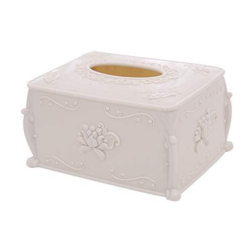 KDSANSO Taschentuchbox,Gesichts Tissue Box Cover Halter Kunststoff für Badezimmer Vanity Counter Tops, Schlafzimmer Kommoden, Nachttische, Schreibtische und Tische, rechteckig,Weiß 17 * 12.5 * 9.7cm -