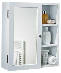 Onlinediscountstore alta qualità singolo specchio mobile da bagno con ripiani, colore bianco.