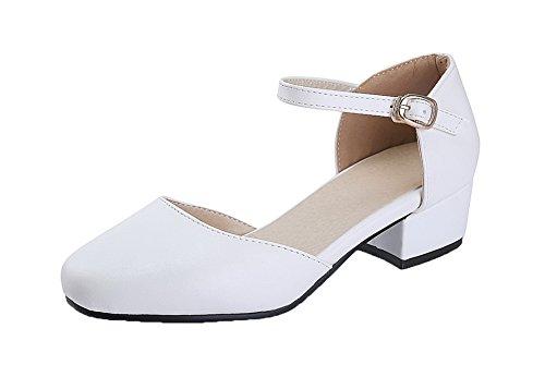 AgeeMi Shoes da Donna Buckle PU Tacco Basso Ballet-Flats Bianco