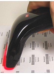 Farbe Schwarz, USB Hand-Barcode-Scanner CCD Barcodescanner 82mm Handgerät, 100 Scan/Sek.