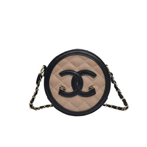 00bc83ff19b10 Damen Tasche Mode rhombische Umhängetasche wilde Messenger Bag lässig PU  kleine runde Tasche weibliche Kette Tasche (Khaki