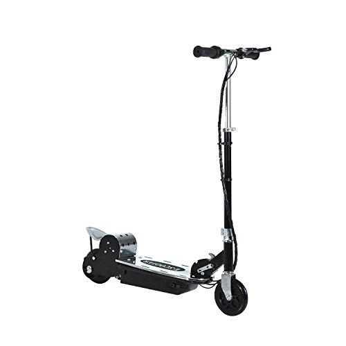 Homcom Patinete Eléctrico Scooter Plegable con Manillar y tipo Monopatín con Freno y Caballete 120W Carga 80kg 81.5x37x96cm (Negro)