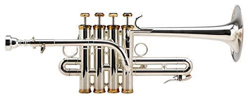 Lechgold PT-910S Piccolotrompete (Bohrung: 11,8mm, Schallbecher: 105mm, lange Bauform, hexagonale, vergoldete Kappen, mit A-Stift, Mundstück und Leichtkoffer) silber