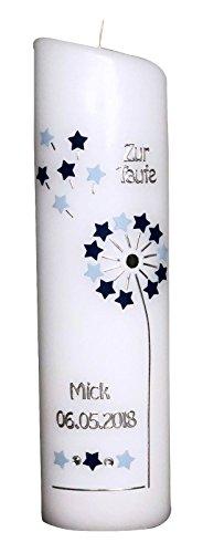 Ovale Taufkerze mit Name, Taufdatum - Zur Taufe - Pusteblume mit Sterne - hellblau/dunkelblau