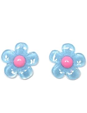 Idin Ohrclips - Blaue Blumen mit rosa Blütenstempel Ohrclips (ca. 18 x 18 mm)