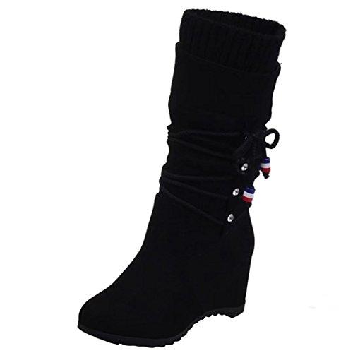 AIYOUMEI Damen Winter Keilabsatz Halbstiefel mit 6cm Absatz Elegant Bequem Mid Calf Stiefel