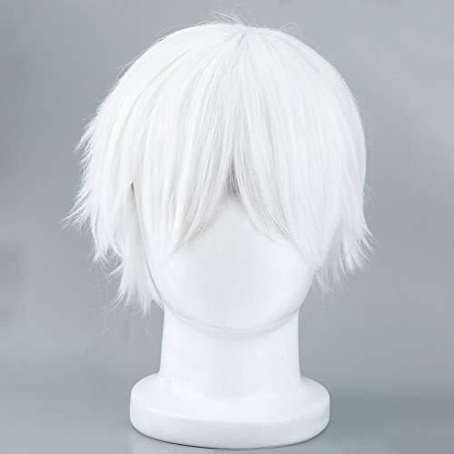 VCB Männliche weiße Perücke für Cosplay Anime Charaktere Gerade Kurze Synthetische Perücken - Weiß