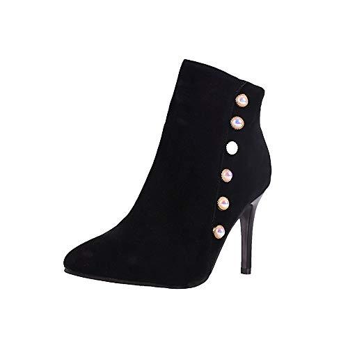 (MYMYG Damen Stiefeletten Freizeitperle Schuhe Rutschfeste Schnür-Ferse mit kurzem Schlauch Stiefel Solide Winterstiefel Boots Chelsea Stiefel Größe)