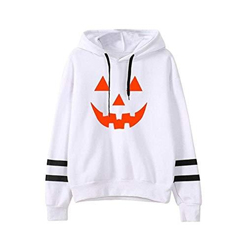 junkai Frauen-Halloween-Kapuzenpullis-Beiläufiges Kürbis-Gedrucktes Sweatshirt-Mit Kapuze Pullover-Oberseiten-Taschen-Lange Hülsen-Oberseiten-Bluse Weiß M