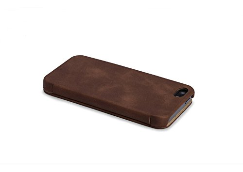 [ICARER] iPhone 5S / iPhone 5 Case, [Genuine Leather] [Handcraft] Full Protection Folio Flip Cover with Magnetic Closure [Vintage Classic Series] (Brown) Braun