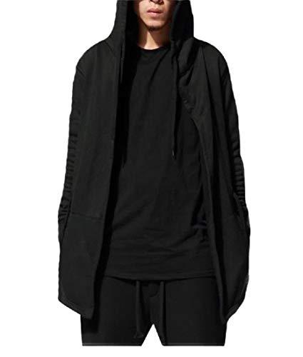 Hooded Knit Poncho (CuteRose Mens Drawstring Trench Mid Long Fine Cotton Poncho Hooded Sweatshirt Grey M)