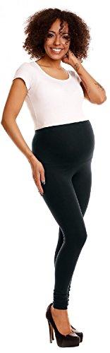 Happy Mama. Damen dehnbar Leggings Umstandsmoden elastischer Taillenbund. 775p Schwarz