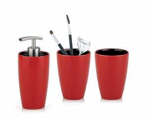 Kela 390106 set de 3 accessoires de salle de bains atlanta en c ramique comprenant 2 gobelets et - Accessoires salle de bain rouge ...