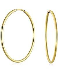 a99a966c60b8 10K Yellow Gold Filled fino clásico de 28 mm de alta polaco fisuras  pendientes del aro
