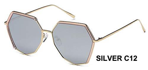 LKVNHP Marke unregelmäßigenRahmen Silber Hexagon Sonnenbrille polarisierte männer ModeAnti-reflektierendefahrbrille FrauenmitBox wpgj119 Silber rosa