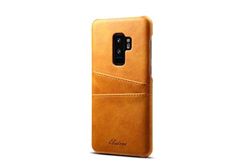 Galaxy S9Plus Leder Fall, tacoo Super Slim Fit Weich PU Schutz Zwei Kreditkarte Slots Ultra Dünn Handy Back Cover für Samsung Galaxy S9Plus 2018, Khaki -