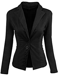 Mujer Blazers Abrigo OL Casual Slim Botón Chaqueta Traje Lapel Top Coat c9a12ab1b85c
