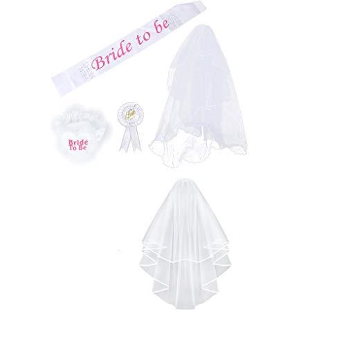 heacker Ben-gi 4 Stück/Set Braut, zum Weiß Rosette Mantilla Abzeichen Sash Garter Veil Hen Night Party Be -