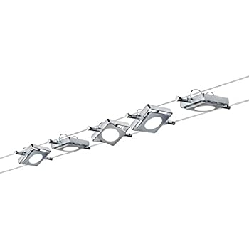 Paulmann 941.08 LED Wire System Spot Lights MacLED - Tension Wire Lighting Set w/ 5 Square Lights, 10m Cable Wire & Transformer - Hanging Ceiling Lights max 20W Matte Chrome