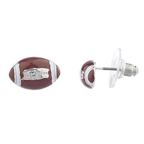 Lux Accessoires Argenté Marron Blanc en émail de football Sports Post Boucles d'oreilles