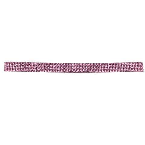 Lux Accessories Pink Multirow Sticker Stone Rhinestone Bling Choker Necklace