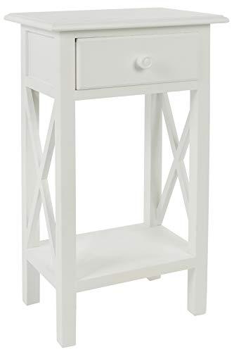 elbmöbel Telefontisch Beistelltisch weiß aus Holz Landhausstil Antik mit 1 Holz-Schublade schmal Kategorie 60-70cm - Antik Weiß Beistelltisch