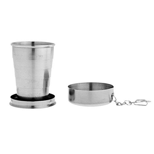 MagiDeal Portable faltbar Trinkbecher Edelstahl Teleskop Tasse Milchbecher Schale für Camping & Reisen - 75ml