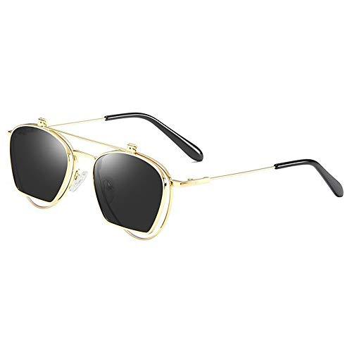 Lxc Mode Polarisierte Sonnenbrille Persönlichkeit Flip Brille Metall Halbrahmen Doppelobjektiv Uv400 Schutz Unisex Gold Rahmen Zeige Temperament (Farbe : Gray)