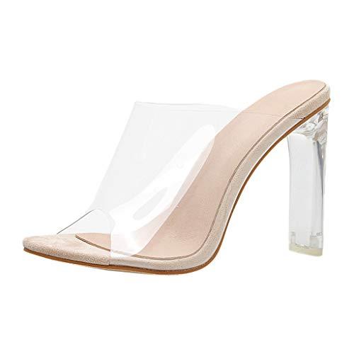 Luckycat Zapatos de Mujer Solo para Mujeres Cerrojo Transparente de Tacón Grueso de Tacón Alto Zapatos...
