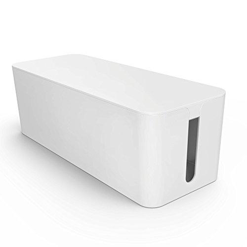 Kabelbox groß weiß I Kabelorganisation zum Verstecken von Kabelsalat und Steckdosenleisten I Schutz für Kinder und Haustiere, Schreibtisch-Organizer I Kunststoffbox Kabel-Box I weiß (Organizer-tool-box)