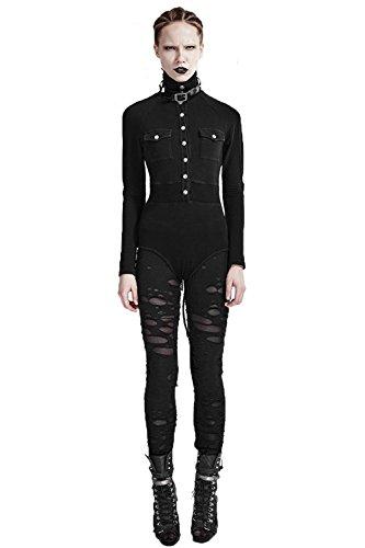 Punk Rave Frauen Sexy Hollow Broken Mesh Stitching Leggings Gothic Skinny Leggings Punk Black Hose Hosen, M (Devils Mesh)