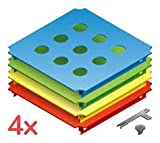 Quadro Lochplatten-Set, 4 Stück mit Plattenschrauben