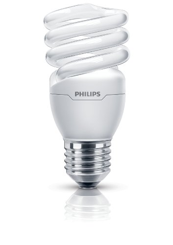 Philips Tornado Compact Fluorescent Edison Screw E27 Spiral Light Bulb, 15 W - Warm White