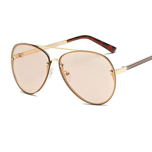 Taiyangcheng Übergroße randlose Aviator Sonnenbrille Frauen Spiegel Vintage Rivet Men Sonnenbrille,A1