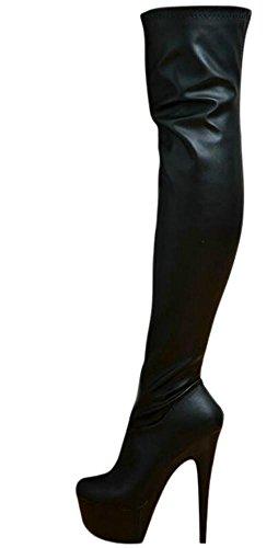 EROGANCE Leder Optik Plateau High Heels Overknee Stiefel A10709 / EU 38