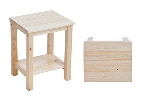 Set di 2 comodini da notte/tavolini da salotto legno di pino naturale