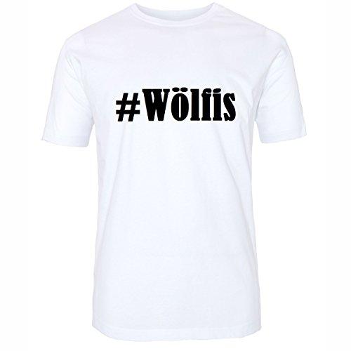 T-Shirt #Wölfis Hashtag Raute für Damen Herren und Kinder ... in den Farben Schwarz und Weiss Weiß