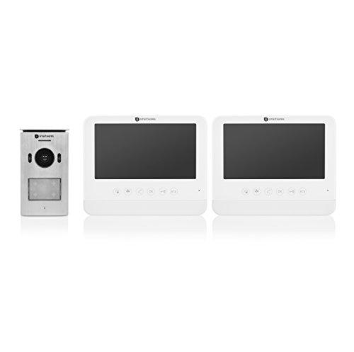 Smartwares DIC-22222 Video-Türeingangskontrolle – 720p HD – 7 Zoll (17,8cm) LCD-Monitor – Schwenk/Neige-Kamera – Automatische Aufzeichnungsfunktion – Nachtsichtfunktion – Wasserdicht – Set für 2 Wohnungen