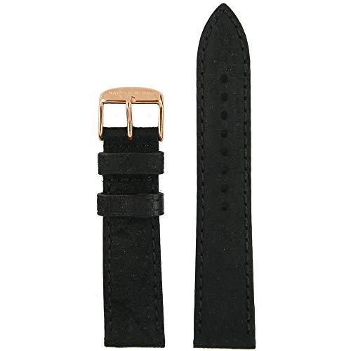 Kapten & Son Uhrenarmband Vintage Leather Schwarz Wechselarmband Uhrenband rosévergoldeter Edelstahl 20 mm