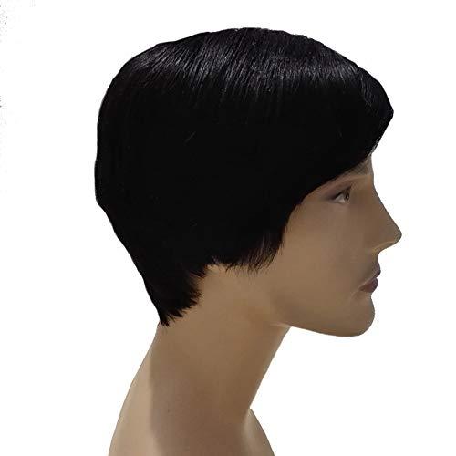 Herrenperücke, Echthaar kurzes Haar schwarz 25cm, weich und glatt erhöhen die Haardichte, jünger und attraktiver nach dem Tragen.