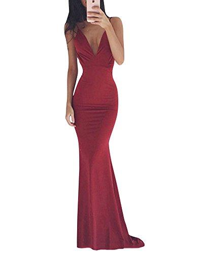 half off 92229 7206b ZongSen Donna Elegante Senza Spalline Vestiti Lungo da Sera Abito da Festa  di Matrimonio Abito Fishtail Cocktail Vino Rosso S