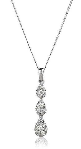 0.50CT Certified G/VS2 Trilogy Round Brilliant Cut Cluster Pear Shape Diamond Drop Earrings in 18K White Gold